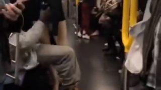 Wilson wont sit down on NYC Train thumb1